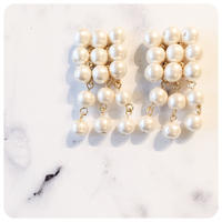square pearl pierce&earring