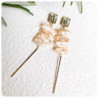 pearl stick pirece&earring