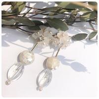 white   bouquet pierce&earring