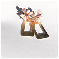 flower rectangle pirece&earring