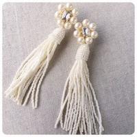 pearl beads tassel pierce&earring