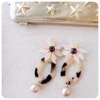 flower amber pierce&earring