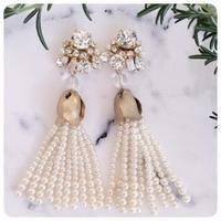 swarovski pearl tassel pierce&earring
