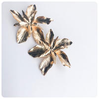 gold big flower pierce&earring
