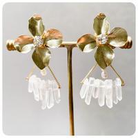 flower crystal pierce&earring