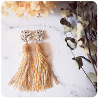 gold beads tassel pierce&earring