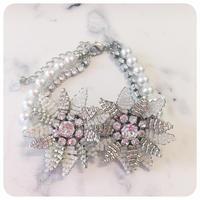 silver beads flower bracelet