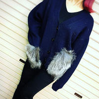 SALE ☆ ポケットファー ニットカーディガン