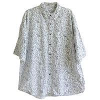 "【80's vintage / germany made】""female geometric"" full print s/s shirts  -XL / white- (om-20627)"