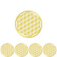 """flower of life"" gold sticker -5 piece set-  (sst003-2)"