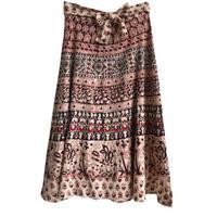 【70's vintage / India made】block print / flower total pattern wrap skirt  -W70cm- (om-216-e)