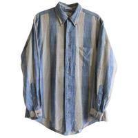 """【80's vintage / U.S. made】 """"SERO"""" Oxford stripe B.D. shirts -sax × beige / L- (jt-214-30)"""
