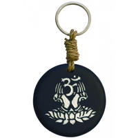 """om lotus"" stone key ring -black/silver-   (sk003)"