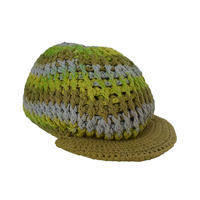 【vintage / America 】 handmade knit casquette / tam  -green × sax × olive-
