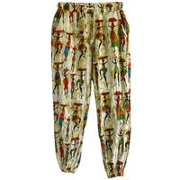 """【80's euro  vintage】""""african lady"""" total pattern  easy pants  -free- (jt-214-33)"""