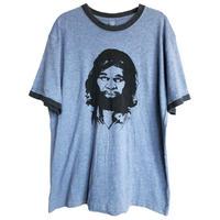 "【U.S.A. used / HYP】""GEICO"" caveman print ringer T shirts   -XL / heather sax-  (om-216-57)"