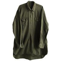 【euro vintage / unknown】cotton twill pullover shirt / grandpa shirt - olive / XL- (jt-214-34)