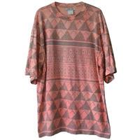 "【80's vintage /  germany  made】""geometric pattern"" full print s/s t-shirts  -XL-  (om-20612)"