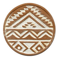 "【India hand made】""geometric pattern"" terracotta coaster  (M-218-2)"