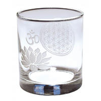 """flower of life × lotus om""  glass (ss001)"