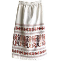 【 70's vintage / Guatemala made】flower & bird  embroidery wrap skirt -natural / free- (jt-214-53)