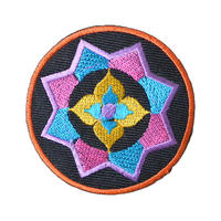 """【dead stock / India made】""""flower"""" geometric pattern patch   (ym-005)"""