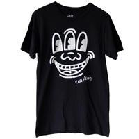 "【 vintage / u.s.made】""keith haring foundation"" 3-eyed face T-shrits -black / s-"