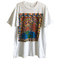"【90's vintage】""help save the elephants!"" pop art T-shirts -XL / white- (jt-218-47)"