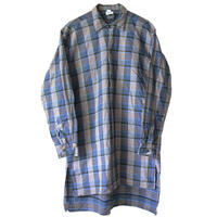 """【70's dead stock / france made】""""magasins bleus"""" check grand father pullover shirts -xl- (om-18-c)"""