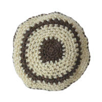 【vintage / Germany 】handmade wool knit beret / tam  -natural × brown- (om-10-9-9)