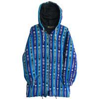 """【70's vintage / inti imports】 guatemala made """"kasuri""""  folklore food jacket  -blue / s-  (jt-034)"""