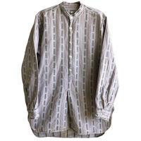 【70's euro vintage】no color pullover grandpa shirt  -gray stripe / 39- (jt-218-25)