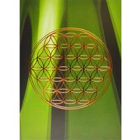 """flower of life"" postcard -green bamboo × gold- (spc003-3)"