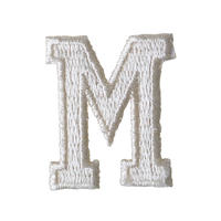 """【70's dead stock / u.s. made】""""M"""" initial patch  -white- (ym-004)"""