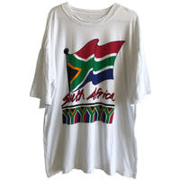 """【vintage】""""South Africa"""" flag T-shirts  - XL / white- (jt-218-48)"""