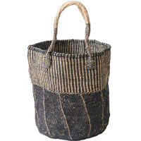 """【African・Kenia / Hand Made】 """"upcycle"""" sisal bag  -black × natural mix / 10inch- (AS-29)"""