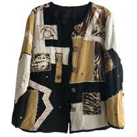 "【80's euro vintage / hand made】""leopard"" patchwork no color jacket -lady's-  (jt218-38)"
