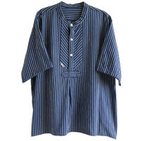 "【vintage / modAS】""Germany"" fisherman pullover s/s work shirt  -navy × white stripe / XL- (jt-027)"