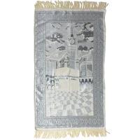 "【used / india made】""G.M.SHAWLS LTD"" mosque Salat mat -natural × silver- (om-827)"
