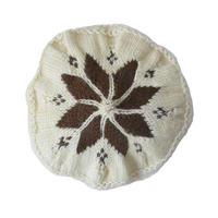 "【70's vintage / Germany 】handmade "" flower"" wool knit beret / tam  -natural × brown- (om-11-5-13)"