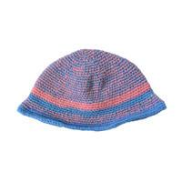 【vintage / Germany 】handmade spacey crusher hat  -blue × pink mix- (om-11-5-3)