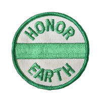 """【70's dead stock / u.s. made】 """"honor earth"""" patch  -white × green- (ym-008)"""