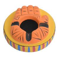 "【india hand made / terracotta】""hamsa hand"" ashtray & Incense holder -orange × yellow- (AI-004-2)"
