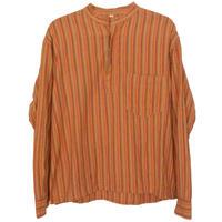 【70's euro vintage】no color pullover grandpa shirt / cotton  -orange multi stripe / M- (om-212-4)