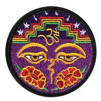 """""""BUDDHA EYE & OM"""" purple patch -Φ7.7cm- (ar215-24C)"""