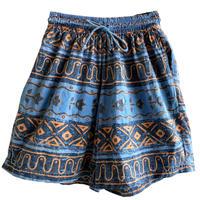 "【80's germany vintage】""geometric pattern"" pigment easy shorts  -M / blue- (om-216-65)"