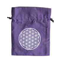 """""""flower of life""""  hand made cotton pouch -purple- (sp003)"""