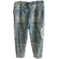 """【80's vintage / africa made】""""african batik"""" remake total pattern easy pants -navy- (om-212-18)"""