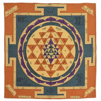 "【India Made】""Sri Yantra"" Bandana -Dark Beige- (im-6)"