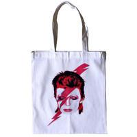 """David Bowie / Aladdin Sane"" "" cotton canvas zip tote bag -white- (ar215-28)"